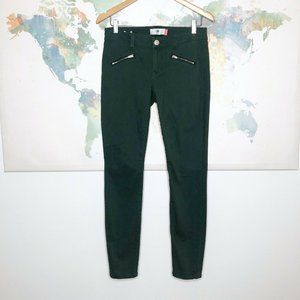 Cabi Skinny Moto Zip Jeans Size 4 Hunter Green